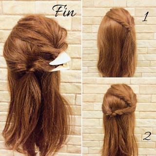 三角クリップ 上品 簡単ヘアアレンジ ヘアアレンジ ヘアスタイルや髪型の写真・画像