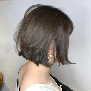 ボブ ミントアッシュ ミルクグレージュ ナチュラル ヘアスタイルや髪型の写真・画像