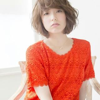 ボブ うざバング ヘアアレンジ ナチュラル ヘアスタイルや髪型の写真・画像
