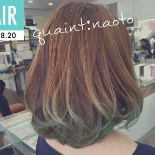 ストリート 大人かわいい カラーバター ミディアム ヘアスタイルや髪型の写真・画像