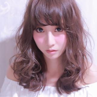 ガーリー セミロング 大人かわいい フェミニン ヘアスタイルや髪型の写真・画像