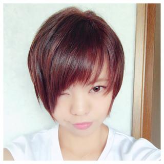 ショート ベージュ ピンク 暗髪 ヘアスタイルや髪型の写真・画像