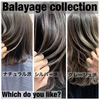 グレージュ バレイヤージュ ブリーチ ストリート ヘアスタイルや髪型の写真・画像