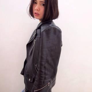 ストレート ショート ウェットヘア 暗髪 ヘアスタイルや髪型の写真・画像