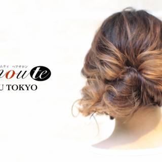 編み込み 大人かわいい ヘアアレンジ ナチュラル ヘアスタイルや髪型の写真・画像