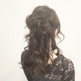 結婚式 ハーフアップ ショート 簡単ヘアアレンジ ヘアスタイルや髪型の写真・画像