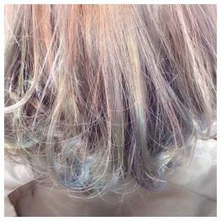 カラーバター ハイトーン ストリート ショート ヘアスタイルや髪型の写真・画像