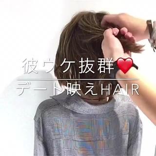 簡単ヘアアレンジ デート フェミニン ヘアアレンジ ヘアスタイルや髪型の写真・画像