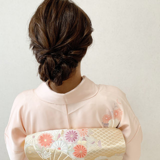 着物 セミロング 浴衣ヘア ヘアアレンジ ヘアスタイルや髪型の写真・画像