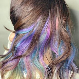 ミディアム イルミナカラー ユニコーンカラー ダブルカラー ヘアスタイルや髪型の写真・画像