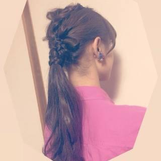 大人かわいい 編み込み ポニーテール ゆるふわ ヘアスタイルや髪型の写真・画像