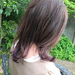 アウトドア アッシュベージュ 夏 ミディアム ヘアスタイルや髪型の写真・画像