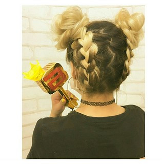 ストリート お団子 編み込み 女子会 ヘアスタイルや髪型の写真・画像 ヘアスタイルや髪型の写真・画像