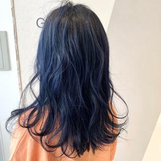 ダブルカラー ガーリー ブルーグラデーション ロング ヘアスタイルや髪型の写真・画像