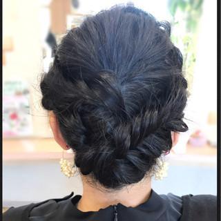 ロング 編み込み ナチュラル 黒髪 ヘアスタイルや髪型の写真・画像
