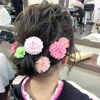 ヘアアレンジ コンサバ ショート 袴 ヘアスタイルや髪型の写真・画像