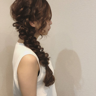 ヘアセット 結婚式 編みおろしヘア ロング ヘアスタイルや髪型の写真・画像