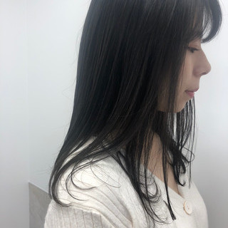 透け感ヘア 暗髪 ナチュラル セミロング ヘアスタイルや髪型の写真・画像