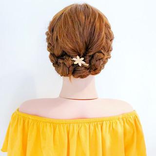 編み込み 簡単ヘアアレンジ フェミニン ロング ヘアスタイルや髪型の写真・画像