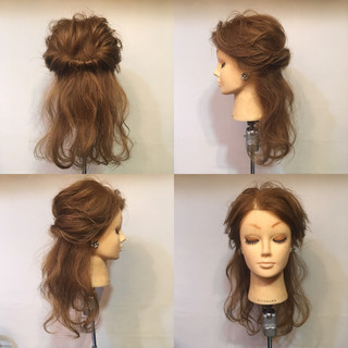 ヘアアレンジ ハーフアップ セミロング 波ウェーブ ヘアスタイルや髪型の写真・画像