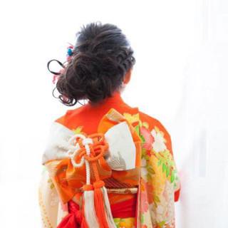 和装 ミディアム 着物 ヘアアレンジ ヘアスタイルや髪型の写真・画像 ヘアスタイルや髪型の写真・画像