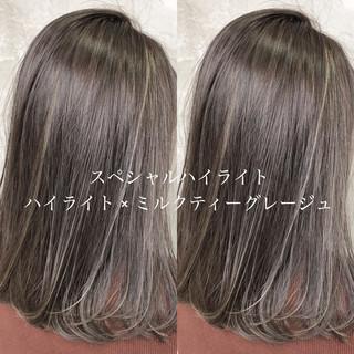 ハイライト ミディアム デート ナチュラル ヘアスタイルや髪型の写真・画像 ヘアスタイルや髪型の写真・画像