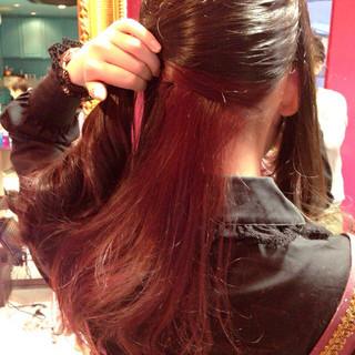 インナーカラー ハイライト ロング ガーリー ヘアスタイルや髪型の写真・画像