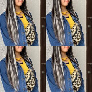ロング エクステ バレイヤージュ 外国人風カラー ヘアスタイルや髪型の写真・画像