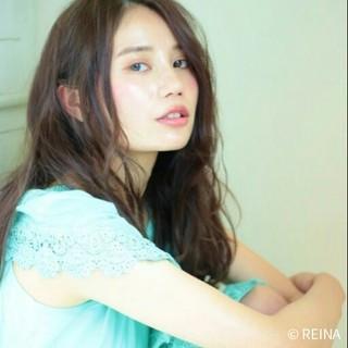 暗髪 フェミニン ヘアアレンジ セミロング ヘアスタイルや髪型の写真・画像