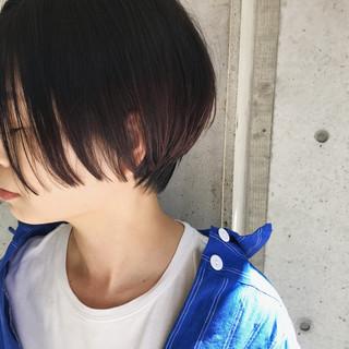 暗髪 ショート ウェットヘア 艶髪 ヘアスタイルや髪型の写真・画像