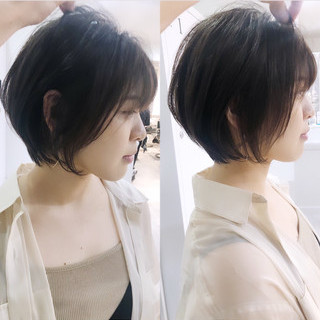 ミニボブ ストレート 縮毛矯正 ショートボブ ヘアスタイルや髪型の写真・画像