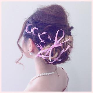 ロング 結婚式 ヘアアレンジ 三つ編み ヘアスタイルや髪型の写真・画像