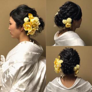 アップスタイル ロング フェミニン 結婚式ヘアアレンジ ヘアスタイルや髪型の写真・画像
