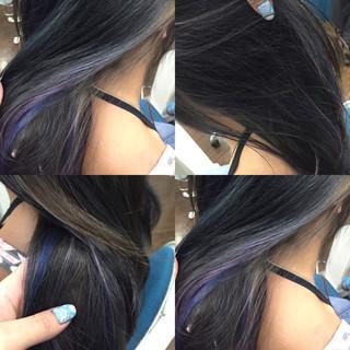ハイライト ダブルカラー ミディアム パープル ヘアスタイルや髪型の写真・画像