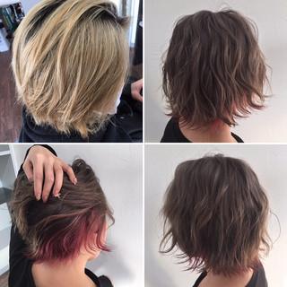 グレージュ ピンク フェミニン ミルクティーグレージュ ヘアスタイルや髪型の写真・画像