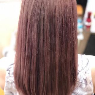 ストリート セミロング ピンク ブリーチ ヘアスタイルや髪型の写真・画像