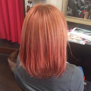 グラデーションカラー ガーリー ボブ ピンクカラー ヘアスタイルや髪型の写真・画像