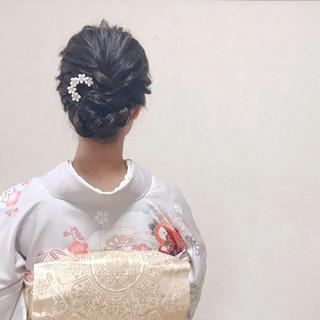 ママ エレガント 結婚式 ミディアム ヘアスタイルや髪型の写真・画像