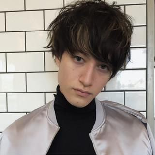 外国人風 メッシュ メンズ ショート ヘアスタイルや髪型の写真・画像