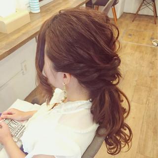 ヘアアレンジ ナチュラル セミロング 女子会 ヘアスタイルや髪型の写真・画像