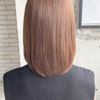ミディアムレイヤー ミディアム ナチュラル 縮毛矯正ストカール ヘアスタイルや髪型の写真・画像