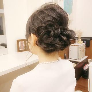 花 フェミニン ヘアアレンジ アップスタイル ヘアスタイルや髪型の写真・画像