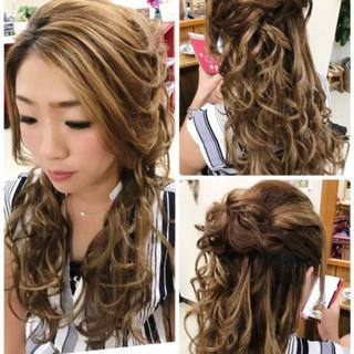 上品 エレガント 結婚式 ハーフアップ ヘアスタイルや髪型の写真・画像