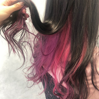 ゆるふわ パープル ガーリー ピンク ヘアスタイルや髪型の写真・画像