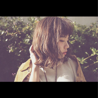 ミディアム ヘアアレンジ 外国人風 ストレート ヘアスタイルや髪型の写真・画像