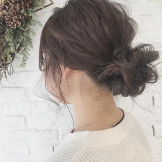 簡単ヘアアレンジ ヘアアレンジ ガーリー セミロング ヘアスタイルや髪型の写真・画像