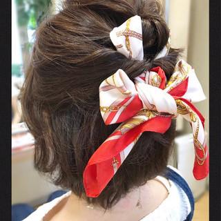 ショート ヘアアレンジ ヘアアクセ ボブ ヘアスタイルや髪型の写真・画像