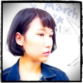 ストレート 秋 ボブ ストリート ヘアスタイルや髪型の写真・画像