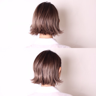 ボブ 外国人風 外ハネ ダブルカラー ヘアスタイルや髪型の写真・画像