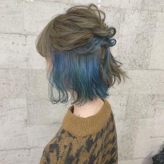 ショート インナーカラー カラーバター ダブルカラー ヘアスタイルや髪型の写真・画像